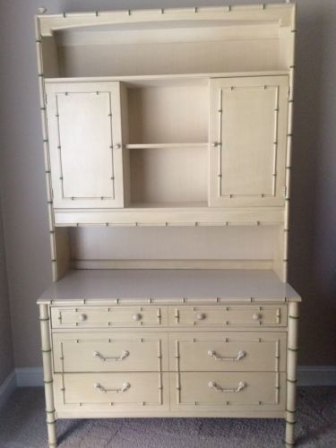 Thomasville Furniture, Vintage Hutch W/dresser, Faux Bamboo,hutch Has Light  For