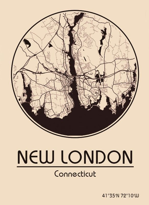 Karte / Map ~ New London, Connecticut - Vereinigte Staaten von Amerika / United States of America / USA
