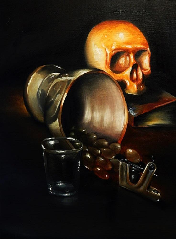 Spill by Brian Mathew Antique Pirate Skull Tattoo Canvas Art Print