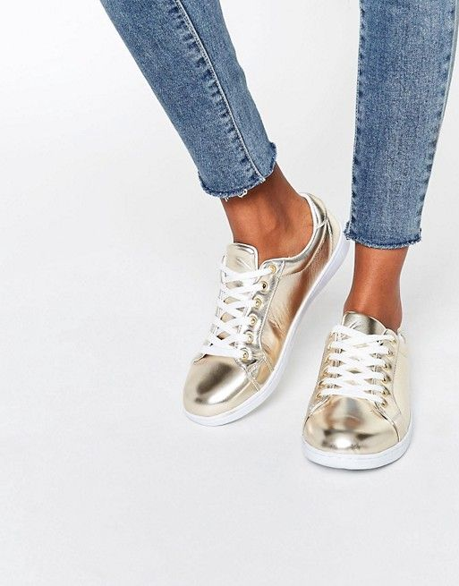 Missguided | Missguided Gold Metallic Sneaker