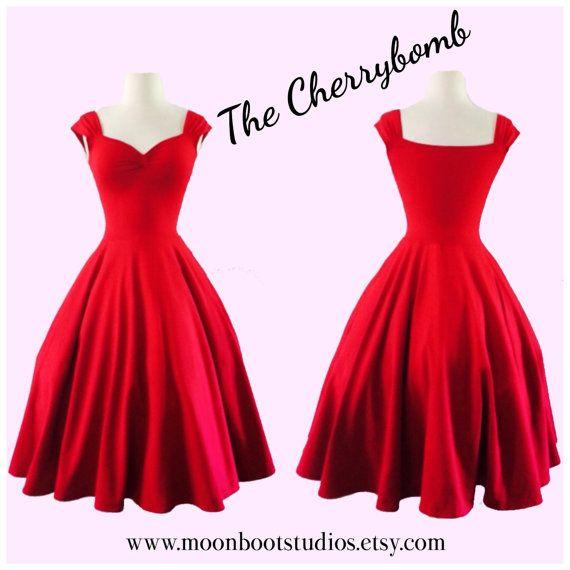 The Cherrybomb Cap Sleeve Swing Dress by MoonbootStudios on Etsy