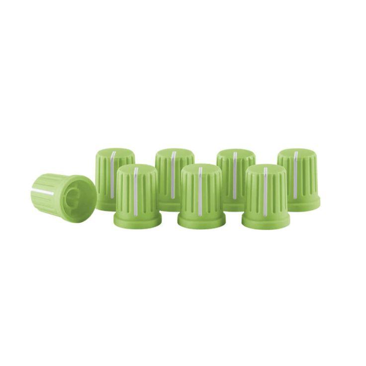 Set de Knobs reloop color verde para mezcladores y controladores, personaliza tus equipos con tu color preferido. Efecto neón.