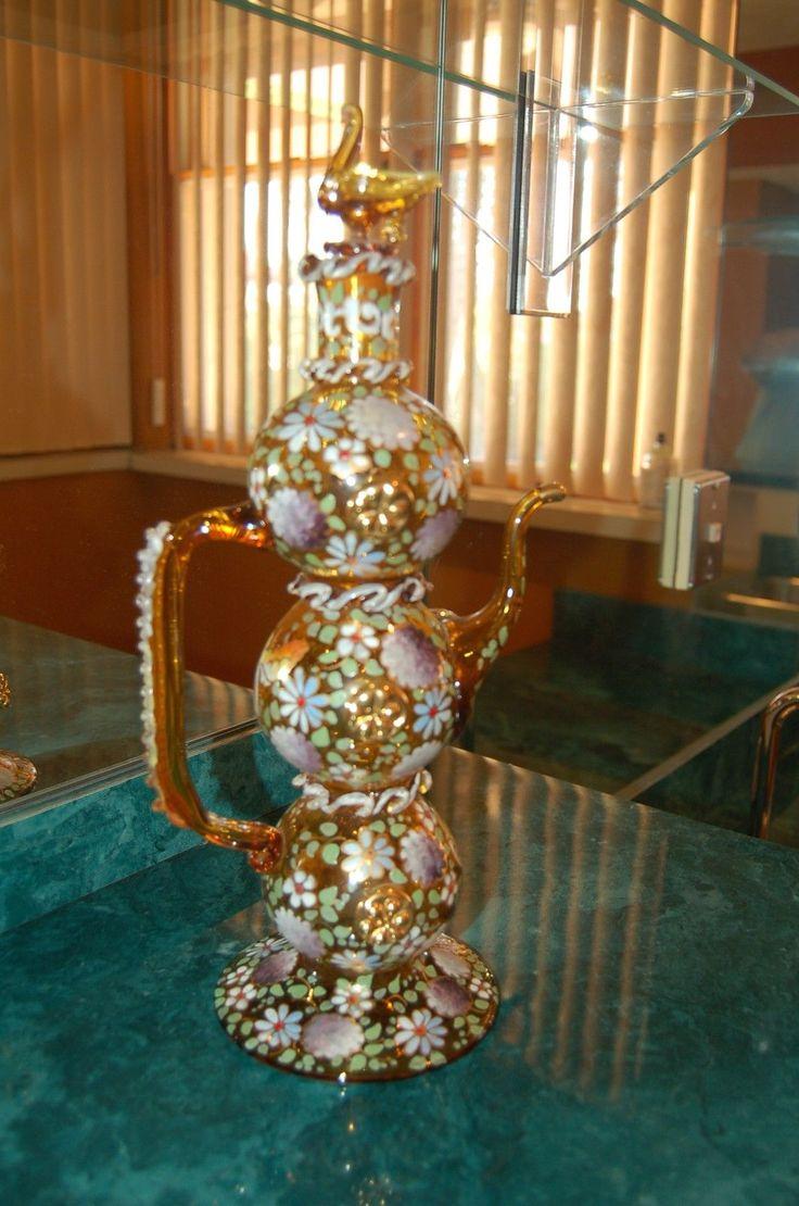 Art Glass Hand Enamelled Antique Lidded Leaves