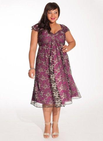 Plus size apple. Rachelle Lace Dress in Metallic Orchid.