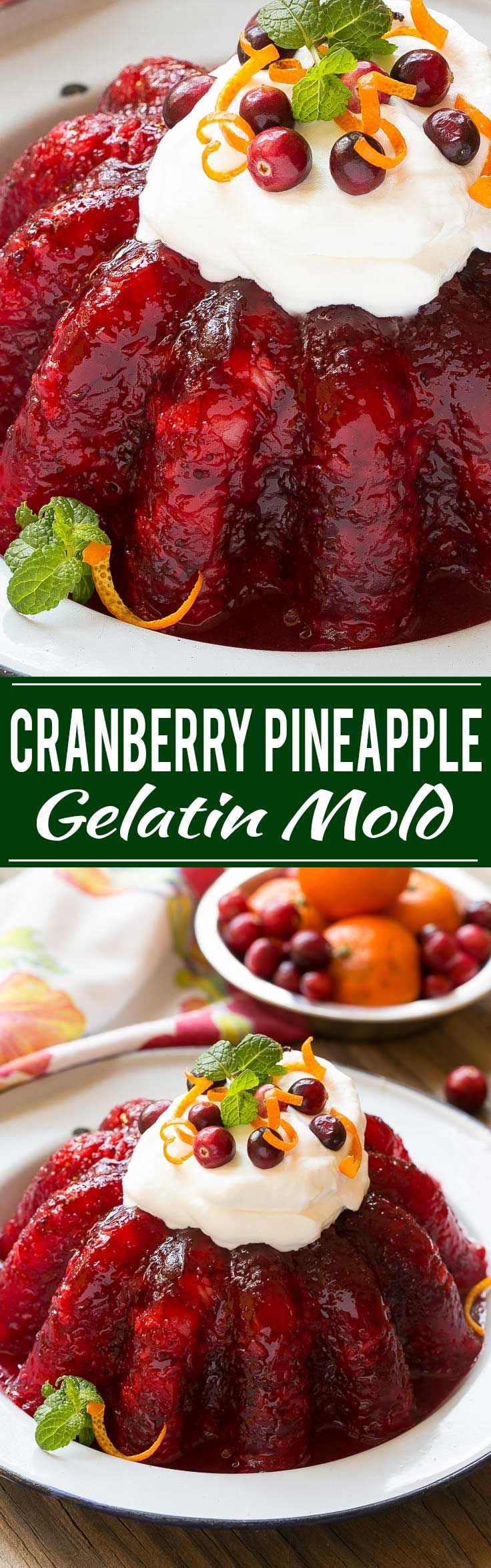 Raspberry gelatin is combined with cranberry sauce, pineapple and orange zest for a delicious side dish or dessert that's perfect for the holidays.