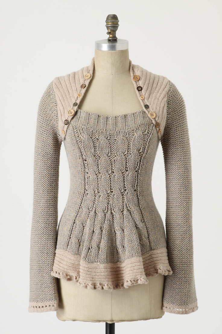 pinafore pullover - the shoulder button detail and the ribbing down the front are interesting details
