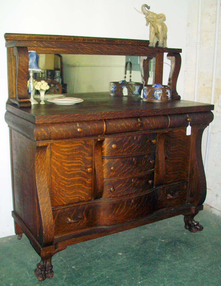 gorgeous early american tiger oak sideboard beautiful condition with mirrored back and claw. Black Bedroom Furniture Sets. Home Design Ideas
