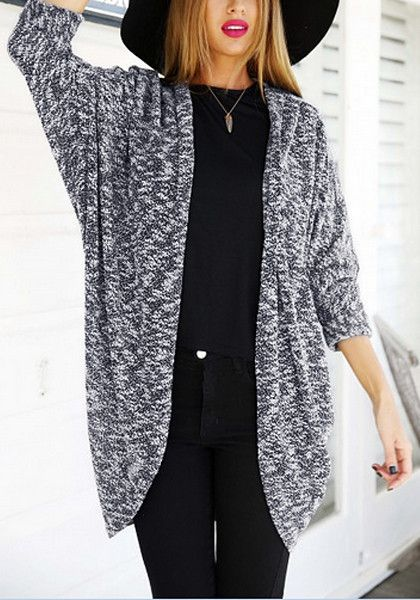 Flaunt a hollywood look with this grey melange batwing cardigan which features an open front, stretchable material and batwing sleeves. | Lookbook Store
