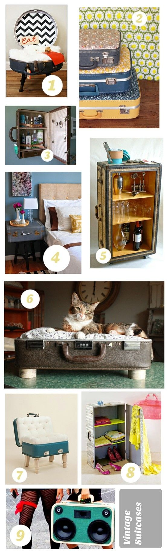 ideas for Old Suitcase Vintage Luggage | Some really cute Vintage Suitcase ideas! by Margita Bombjaková