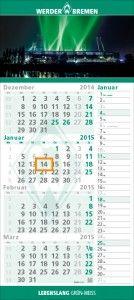 Werder Bremen - 4-Monatskalender 2015 Die Wahl des Bundesligisten fiel dabei auf den Einblockkalender dispo quadro 4plus, der bei hochwertigster Verarbeitung ein großzügiges Titelbild, einen extragroßen Planungszeitraum mit 4 Monaten auf einen Blick und einen Streifenkalender zum Eintragen von Notizen bietet.  http://terminic.eu/terminic-und-werder-bremen-gruen-weisser-4-monatskalender-ab-sofort-im-werder-fanshop/