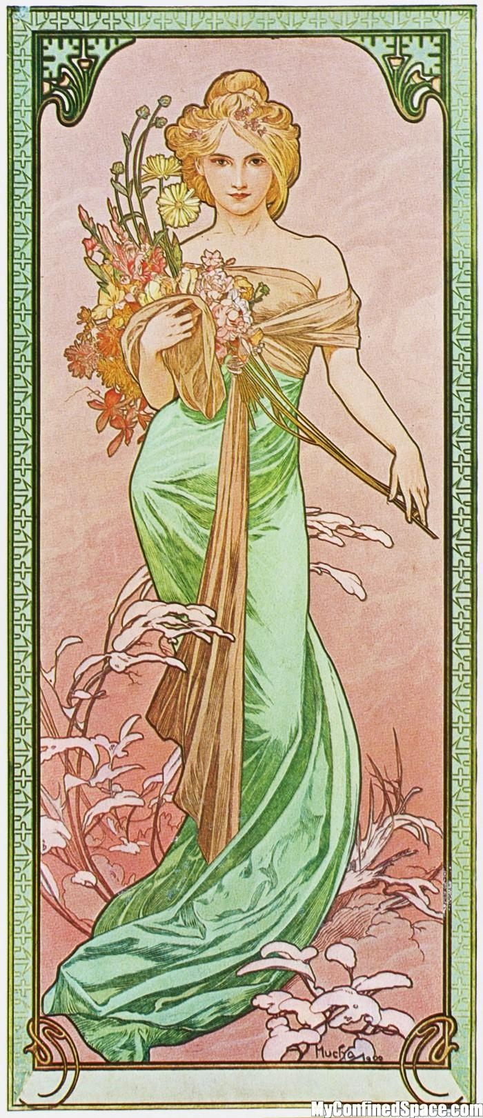 Alphonse Mucha, Le Printemps. Very easy costume: Would need long strapless green dress, brown fabric, and some flowers.