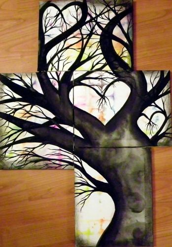 I like the placement of the canvases.... 4 Canvas Tree of Life  Painting. Starting at $10 on Tophatter.com!