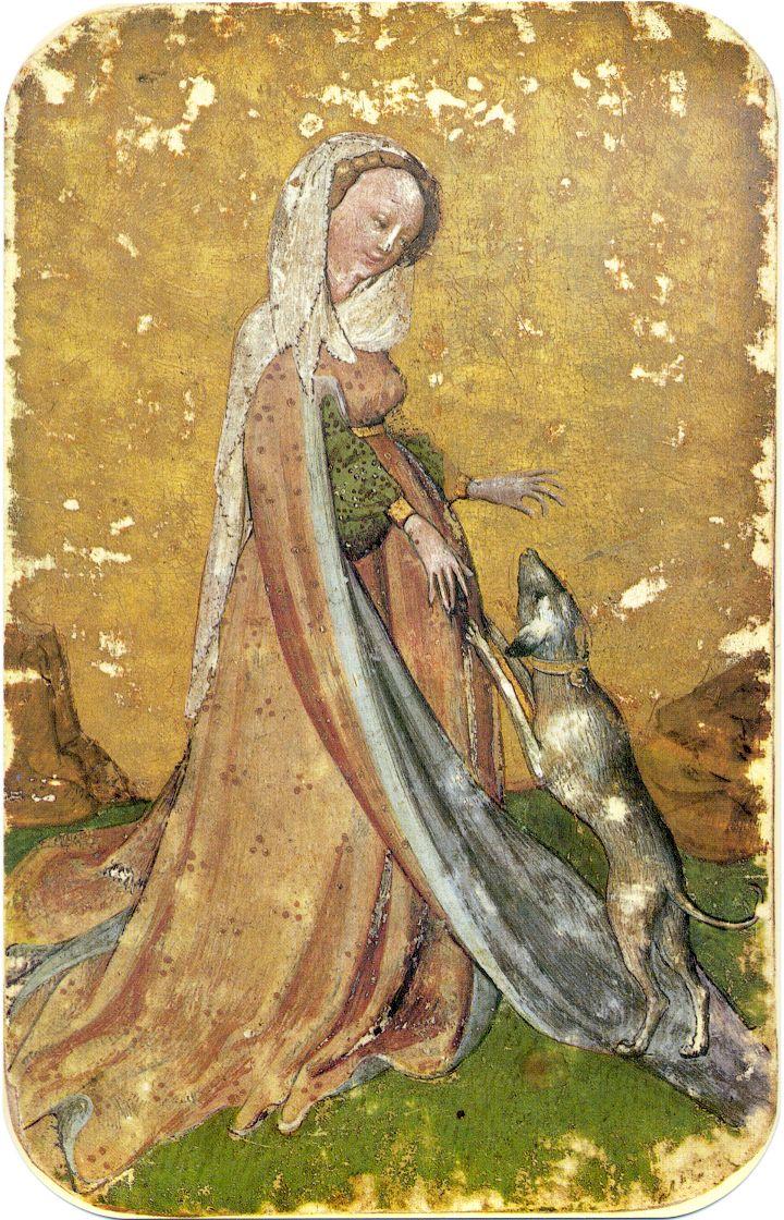 Stuttgart playing cards, ca. 1430 Карты итальянского типа в конце XIV века появляются во Франции, а уже при Карле VII (1403-1461) появляются карты с собственными национальными мастями: сердце, серп Луны, трилистник и пика. А в конце XV столетия во французских картах окончательно устанавливается тот тип мастей, который употребляется до сих пор: черви (coeur), бубны (carreau), трефы (trefle) и пики (pique).
