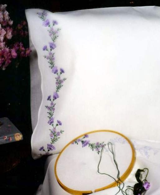Tobin Stamped #embroidery VIOLETS #pillowcases #DIY #crafts