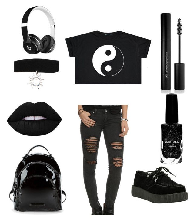 """Emo"" by taylor-seiberlich on Polyvore featuring Hot Topic, T.U.K., Forever 21, Azature, Kendall + Kylie and Beats by Dr. Dre"