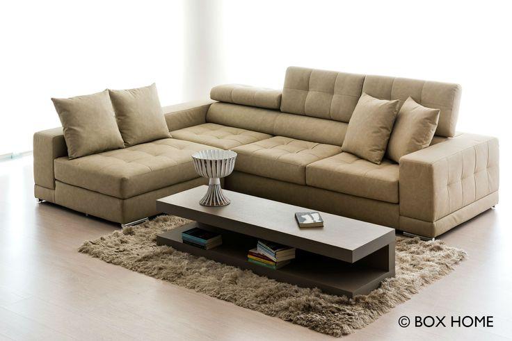Γωνιακός καναπές ANESIS με ανάκλιση,  έπιπλο & διακοσμητικά από τη συλλογή του BOX HOME.  modern living room