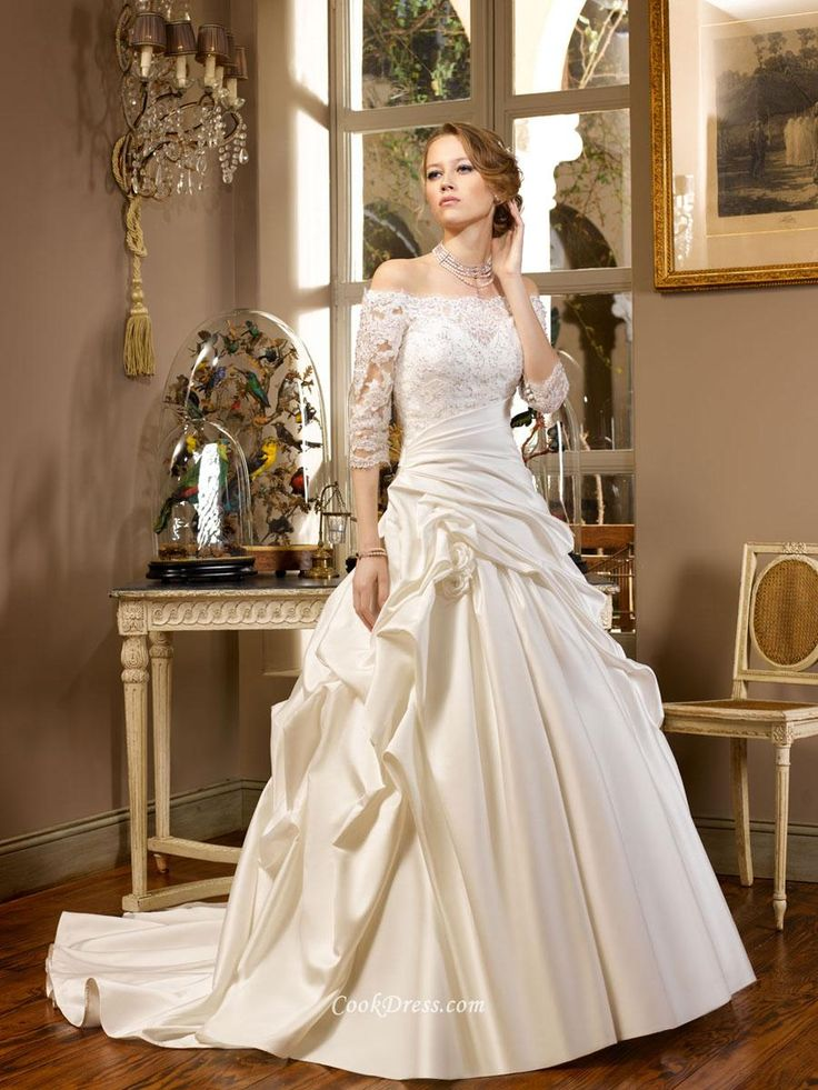 Awesome Off the Shoulder Lace and Taffeta Ball Gown Wedding Dress