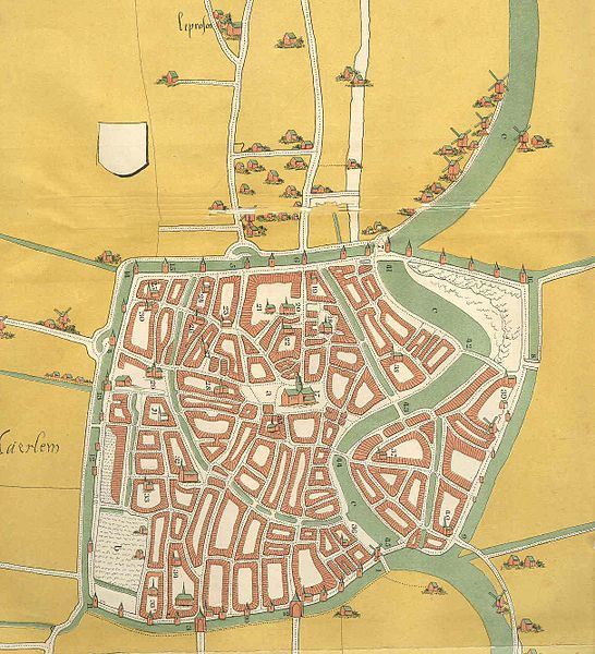Map of Haarlem, the Netherlands, of around 1550.