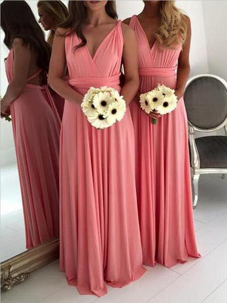 Cheap V Neck Sleeveless A Line Chiffon Floor Length Long Bridesmaid Dresses, SW1072 Cheap V Neck Sleeveless A Line Chiffon Floor Length Long Bridesmaid Dresses, SW1072
