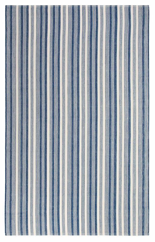 Ticking Stripe Hand Woven Blue White Indoor Outdoor Area Rug 8 X