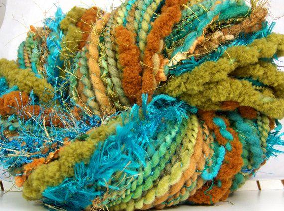Kitty Grrlz FunctionArt HandSpun Art Yarn bulky merino wool Turquoise and Jasper