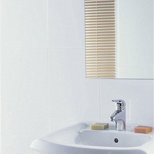 Faïence mur blanc mat, Rubix l.30 x L.60 cm joints fins LM