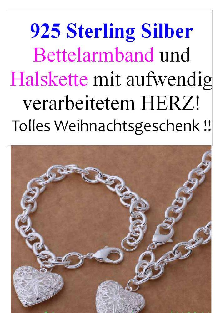 925 Sterling Silber Schmuck Set Armband & Kette mit traumhaftem Herzanhänger