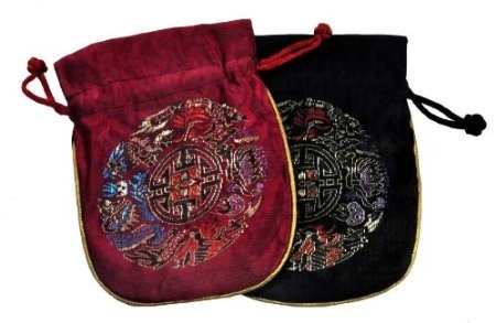Set of Two, Black and Burgundy Chinese Brocade