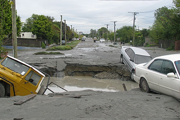 Sink-hole after Earthquake, Christchurch New Zealand