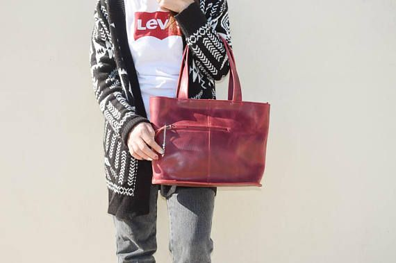 Leather Purse, Tote Bag, Shopping Bag, Leather Tote Bag, Leather Handbag, Shoulder Bag, Personalized Tote Bag in Wine Color, Made in Greece