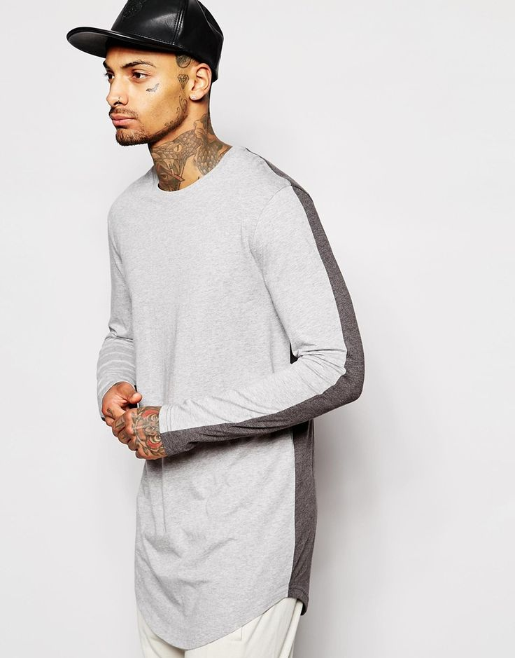 Image 1 of ASOS Super Longline Long Sleeve T-Shirt With Contrast Back Panel And Scooped Hem