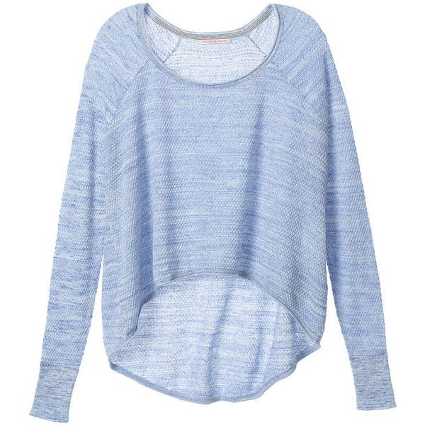 Victoria's Secret Drapey Swing Sweater found on Polyvore featuring tops, sweaters, shirts, long sleeves, long sleeve shirts, loose sweater, cotton shirts, layered sweater e cotton sweaters