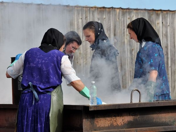 The Hutterites steaming soap.