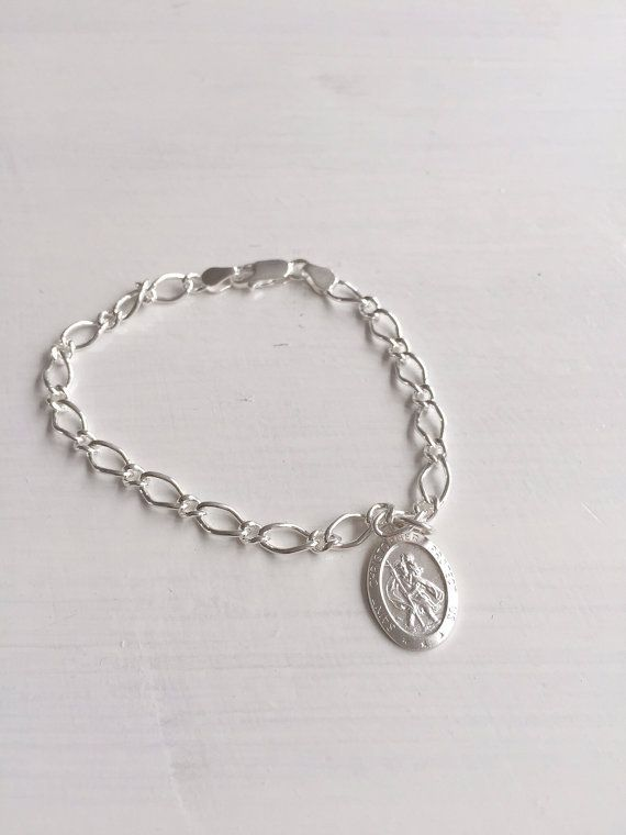 St Christopher Medal - Silver Charm Bracelet - Ladies Bracelet - Patron Saint of Travellers - Christening Gift