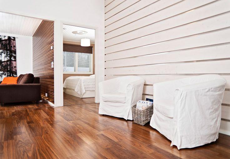 SIPARILA Wall: RETRO interior board, Tone: translucent white. Ceiling: KIILLE interior panel STP 15x120, Tone: white.