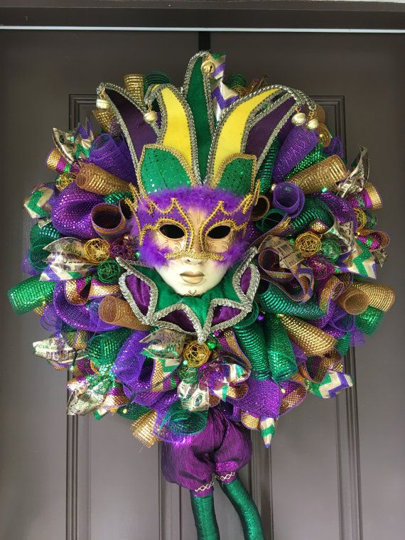 Ultimate Mardi Gras Front Door Decor Mardi by WreathsandBowsOhMy