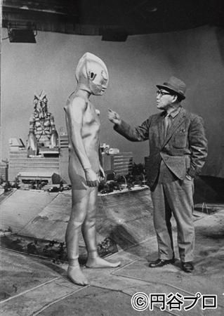 Eiji Tsuburaya on set with Ultraman