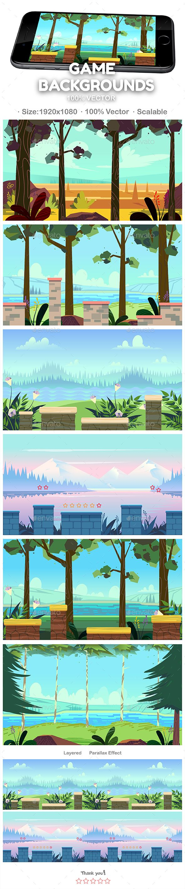 #Game #Backgrounds #Set #template - Backgrounds Game #Assets #design #ui #ux #gui. download: https://graphicriver.net/item/game-backgrounds-set/20352944?ref=yinkira
