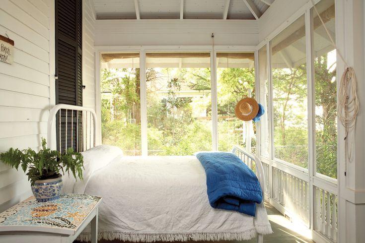 Cozy sleeping porch.                                                                                                                                                      More