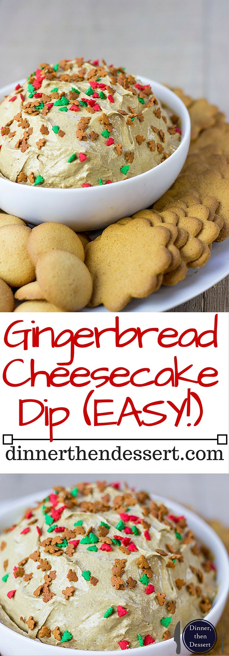 Creamy Gingerbread Cheesecake Dip perfect for a holiday crowd looking for a small bite instead of a heavy cheesecake! Perfect for a large crowd served with graham crackers or ginger snaps!