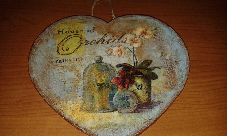 Decorazioni da parete - Quadretto targhetta cuore legno decoupage orchidee - un prodotto unico di danif5 su DaWanda