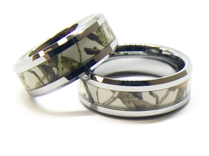 Trending Southern Sisters Designs White Camo On Silver Couples Ring Set His and Hers Set