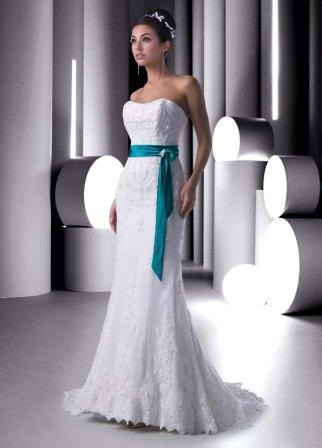 Delightful Lace Mermaid Wedding Gown With Turquoise Sash And Sleek One Of A Kind  Skirt. The Turquoise Looped Sash Adds A Splash Of Color To This White  Wedding Gown. Amazing Design