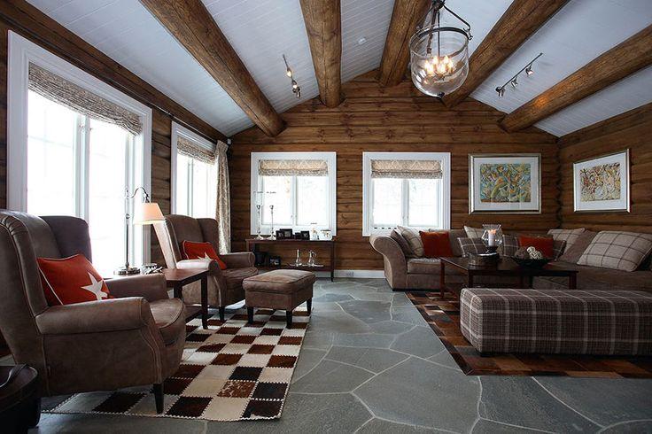 interiør hytte stue