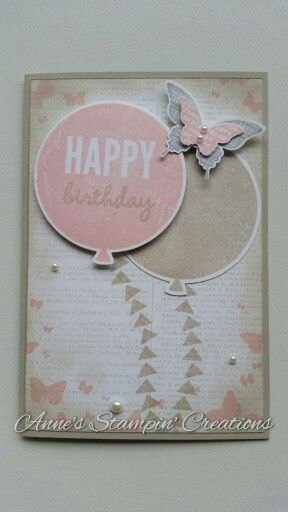 Stampin' Up! Birthday card Celebrate Today stampset with Balloon framelits dies, Perpetual Birthday Calendar stampset, Butterfly Basics stampset, Kinda Eclectic stampset, Dictionary background stamp, Elegant Butterfly punch, Bitty Butterfly punch. Facebook page: Anne's Stampin' Creations