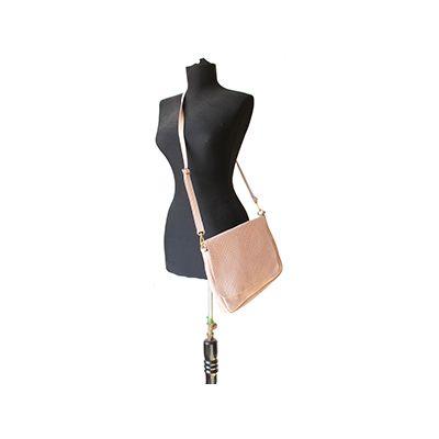 Cora Italian Light Pink Leather Cross Body Satchel Bag - £64.99
