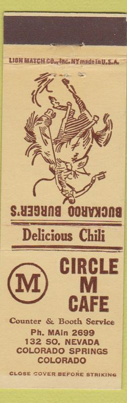 Matchbook from Circle M Cafe at 132 S. Nevada Ave in Colorado Springs, olorado