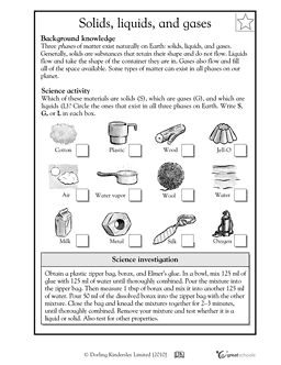 Solids Liquids And Gases Worksheets Amp Activities