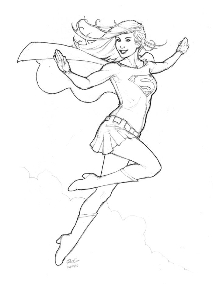Supergirl - Rodin Esquejo | Heroes To Draw | Supergirl, Coloring ...