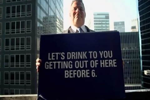 To promote Ultimat Vodka and re-introduce the concept of 'Summer Fridays' to today's dedicated workforce, Amalgamated hired professional window washers to scale the windows of high rises, dressed in business suits. Instead of squeegees, they held up a series of signs inviting office workers to come outside for free drinks.